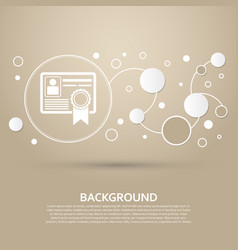certificate icon on a brown background with vector image