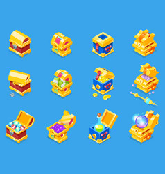 chest icon isometric treasure box with gold vector image