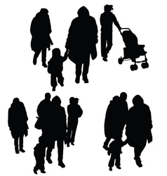 Child with family silhouette vector