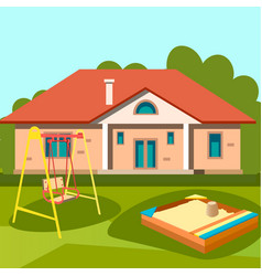 Children playground in outside house vector
