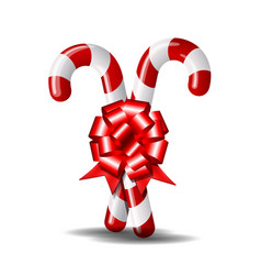 christmas candy cane with red bow isolated vector image