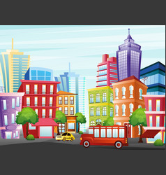 city street with funny vector image