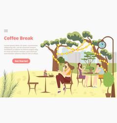 Coffee break morning breakfast concept landing vector