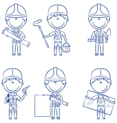 Collection of construction workers vector image
