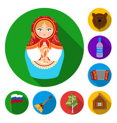 Country russia travel flat icons in set vector
