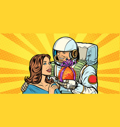 Couple in love astronaut gives a woman mars vector
