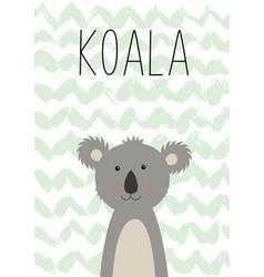 cute koala poster card for kids vector image