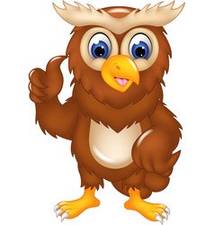 cute owl cartoon posing with smile and thumb up vector image vector image