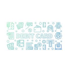 Debit card outline colored horizontal vector