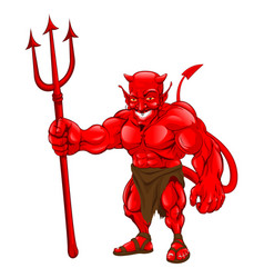 Devil standing with pitchfork vector