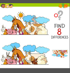 Differences game with farm animals group vector