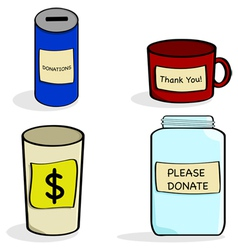 Donation cups and jar vector