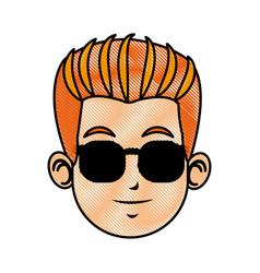 drawing head man face avatar vector image