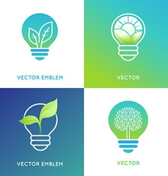Eco energy concept - light bulb icons with green vector