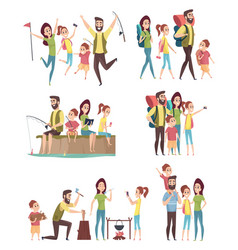 family hiking couples with kids exploring vector image