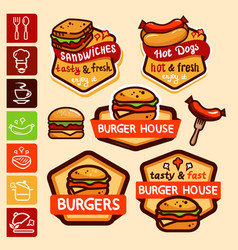 fast food logos and emblems set vector image