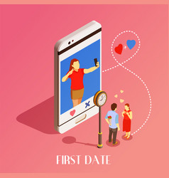 first date isometric design concept vector image