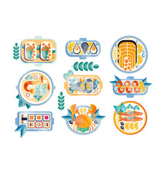 Flat set various seafood dishes boiled vector