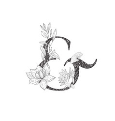 Floral botanical alphabet letter with plants and vector