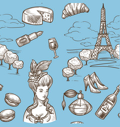 french culture symbols and historical hand drawn vector image