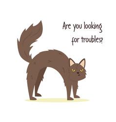 Funny a vicious cat vector