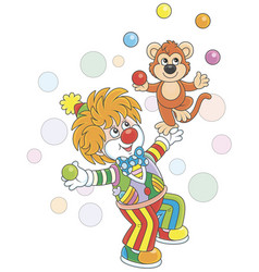 Funny clown playing with a monkey vector
