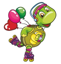 Funny turtle on roller skates on a white vector image