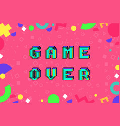 game over phrase in pixel art vector image