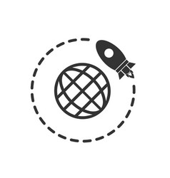 go to space icon flat vector image