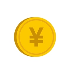Gold coin with yen sign icon flat style vector