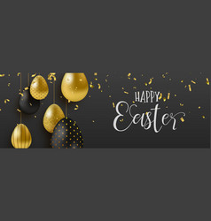 Gold glitter easter eggs luxury web banner vector