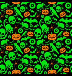 halloween orange and green signs seamless pattern vector image