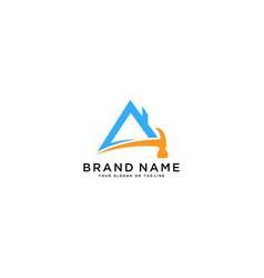 Hammer logo design and home renovation vector