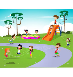 happy cartoon kids vector image