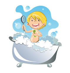 happy kid having bath vector image