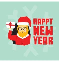 Happy new year hipster santa postcard vector image