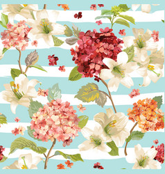 Hortensia and lily flowers seamless background vector