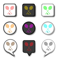 Icons logo from set symbols for racket badminton vector