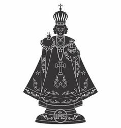 Infant jesus prague black fill vector