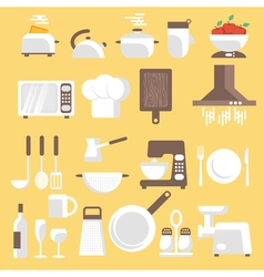 Kitchen tools ware and utensils flat style for web vector