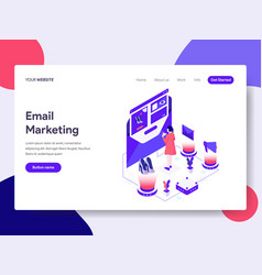 Landing page template of email marketing concept vector