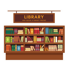 Library promotional poster with big full wooden vector