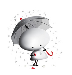little man with broken heart and umbrella vector image