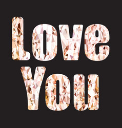 love you quote typography gold glitter isolated vector image