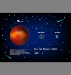 mars and its moons educational poster vector image