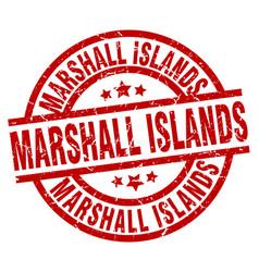 Marshall islands red round grunge stamp vector