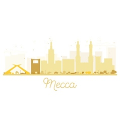 Mecca City skyline golden silhouette vector