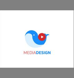 Media whale design logo vector