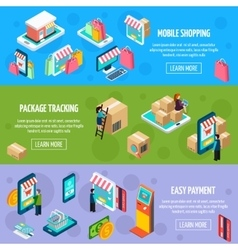 Mobile Shopping Isometric Horizontal Banners vector image