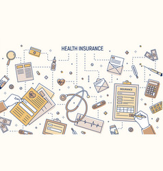 Modern banner with hands filling out health vector